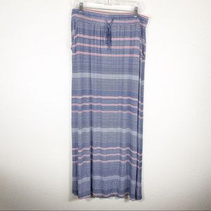 NWT Design History Navy Striped Summer Maxi Skirt